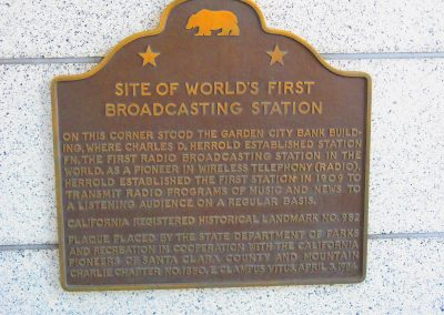 Site of First Broadcast CA plaque 2017
